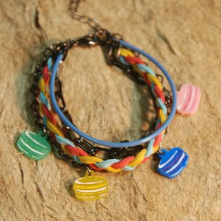 Macaron / colorful style / multi-layered braided rope bracelet /