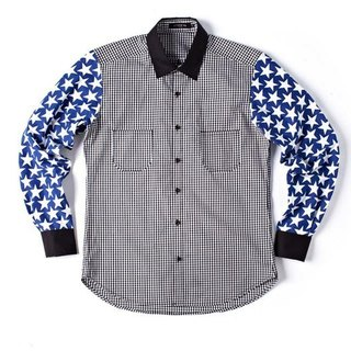 Stone'As Stars Print & Check Shirt / Star plaid shirt