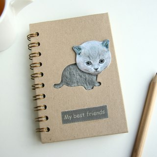 Love the Earth also love animals Notebook - Recycled Notebook - melancholy little gray cat