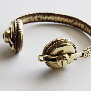 Headphone Bracelet - brass metal bangle/ cuff