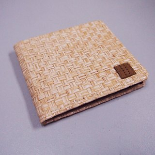 Paralife Custom Handmade White Brown Grass Woven Short Wallet / Clutch / Purse