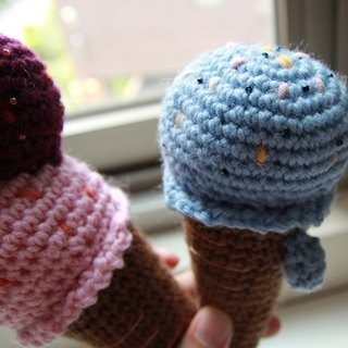 Amigurumi crochet doll: Play food, Ice cream x 2