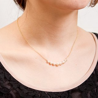 Necklace / freshwater pearl and 14KGF adult frilled necklace / FrillN01