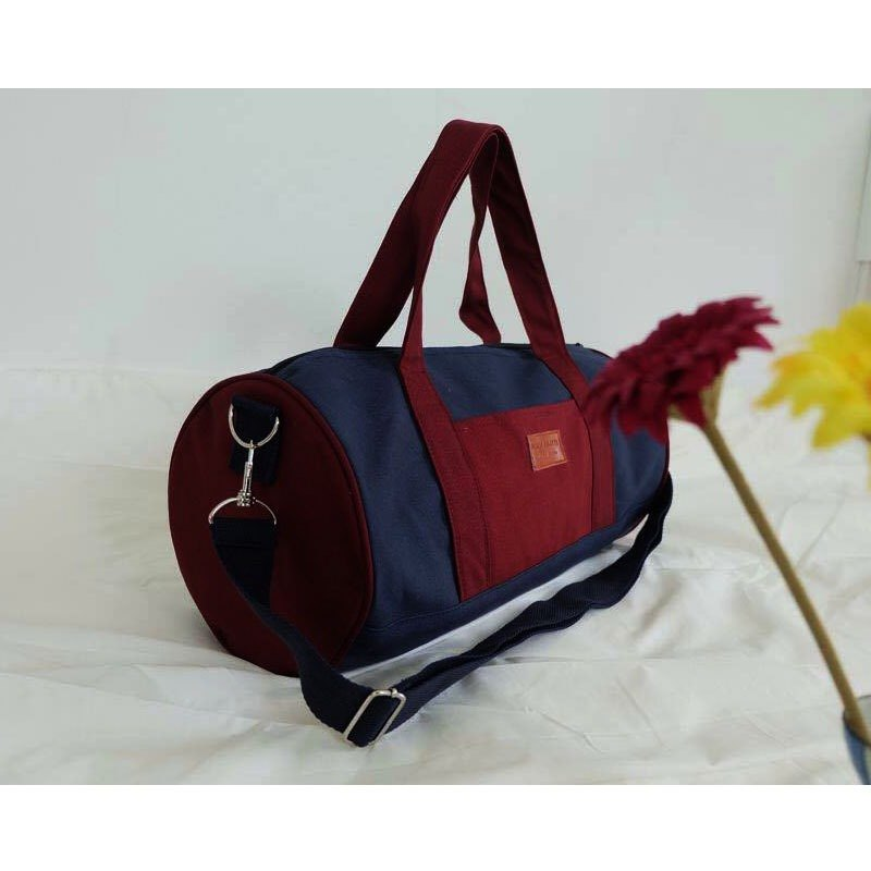 blue and red duffle