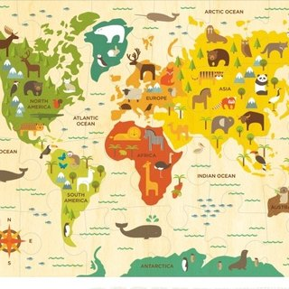 American petitcollage floor puzzle - world map