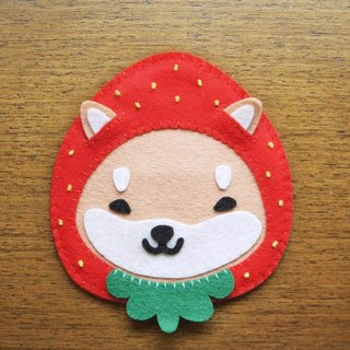 Mangogirl healing strawberry small Shiba Inu hand made coaster