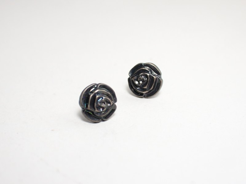 Circle dot lacquered rose vintage stainless steel earrings earrings 0131