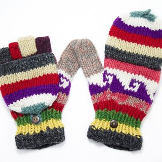 Valentine limit a hand-woven pure wool knit gloves / detachable gloves / bristles gloves / warm gloves - colorful color forest national totem