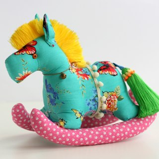 Even shook his hand-sewn Maputo / decorations (Turkey blue cloth / yellow mane) - Fabric Rocking Horse