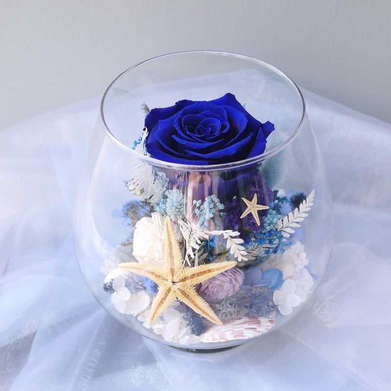 Indigo Star - Eternal Blue Rose Does Not Wither Rose Dry Glass Table Flower Eternal Flower