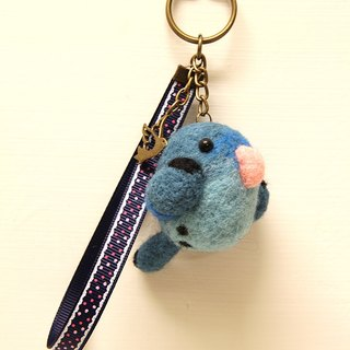 Rolia's hand-made blue horizontal parrot wool felt strap (can be customized)
