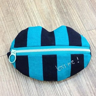 [Chirp one! ] Blue-black lines lip cosmetic purse hand bag