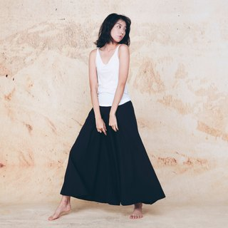 Handmade cotton and linen wide trousers skirt - Black