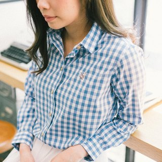 CRANE // medium blue check // women long sleeves