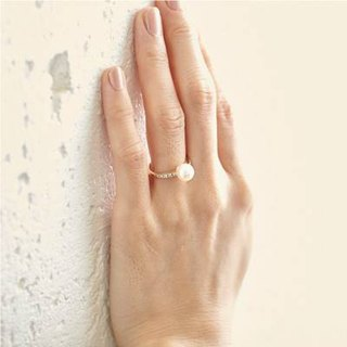 [Ring] K10YG + Diamond + freshwater pearl of Petit jewelry ring / FirstR01