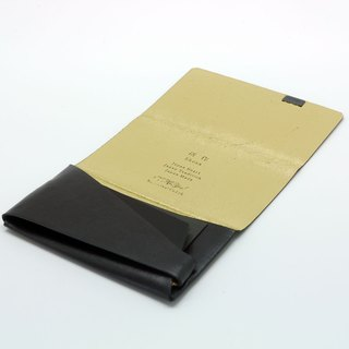 Made Shosa [Japanese handmade vegetable tanned leather] business card holder / clip - paragraph color / black gold