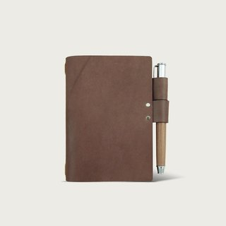 N3 mini notebook leather case (with notebook) -- dark brown