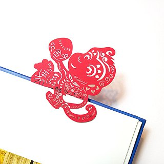 MARK TAIWAN Mai Mai Festival - Golden Monkey Peach Paper Bookmark
