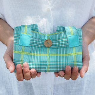 LessBAG eco waterproof fold green & blue check
