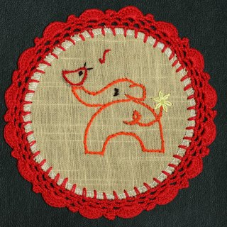 Hand-woven coasters - baby elephant and birds singing + red Crochet Fabric Coaster