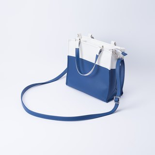 Paper bag shape color matching bag portable shoulder dual-use white X sapphire blue
