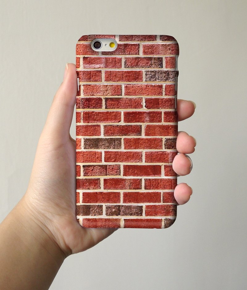 Wall Red Brick 3D Full Wrap Phone Case, available for  iPhone 7, iPhone 7 Plus, iPhone 6s, iPhone 6s Plus, iPhone 5/5s, iPhone 5c, iPhone 4/4s, Samsung Galaxy S7, S7 Edge, S6 Edge Plus, S6, S6 Edge, S5 S4 S3  Samsung Galaxy Note 5, Note 4, Note 3,  Note 2