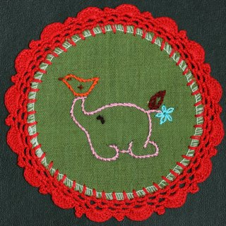 Hand-woven coasters - baby elephant and birds running + red Crochet Fabric Coaster
