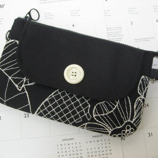 Double zipper bag / hand bag / messenger bag / cell phone pocket - French black and white