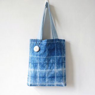 S.A x Inside Out, Indigo dyed Handmade Checks Pattern Tote Bag