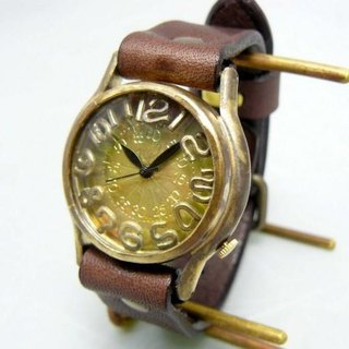 "Handmade watch HandCraftWatch ""On Time3-B"" Mens Brass grilled / BR"