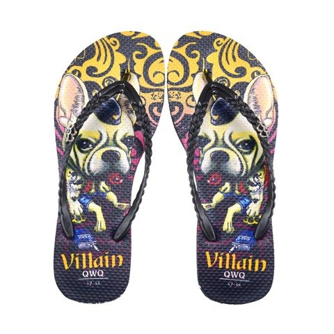QWQ Creative Design Flip-flops - Villain Dog-Black [ST0311505]