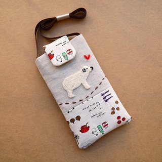 Polar bear embroidered cell phone pocket (L)