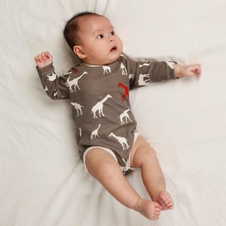 gujui Love Giraffe (gray) - Organic cotton long sleeve package fart clothing