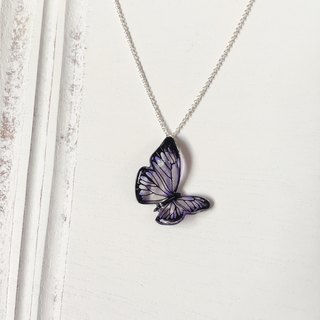 * Haku‧Neko * Purple black pattern Flying hand painted butterfly necklace