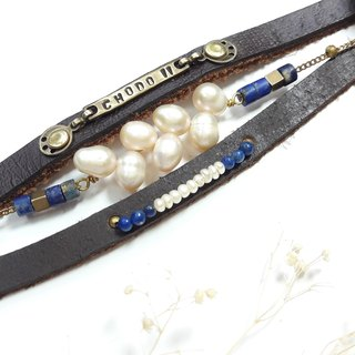 Bracelet ◎*customer lettering*pearl lap stone double leather bracelet