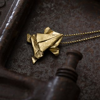 Origamini Small School Brass Frog Necklace Brass Frog Necklace