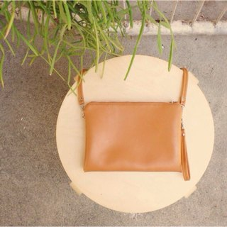 Sandwich crossbody clutch - Tan