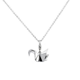 Origami swan fairy waltz Silver Necklace