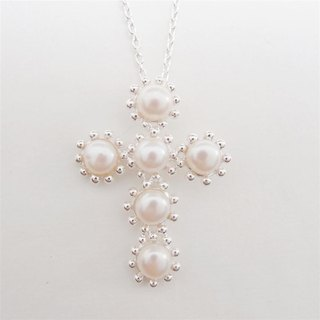 Classic pearl sterling silver cross necklace