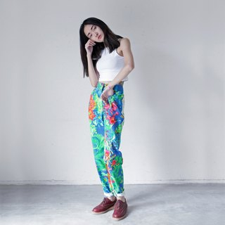 A ROOM MODEL - VINTAGE, DP-0232 VERSACE white and blue mosaic bottom pants retro flower pattern flower with Shimokitazawa