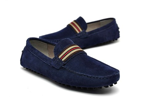 British style suede Le Fu Peas shoes LOAFERS dark blue