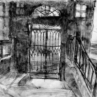 Venice: Waste iron gate bridge (Travel sketch postcard)