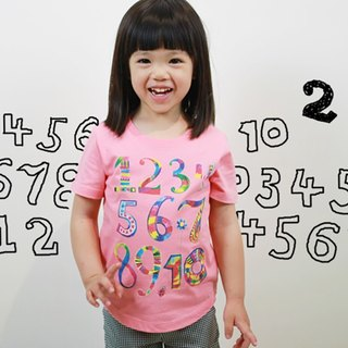 Children's Cotton Handmade T-Shirt - Childlike Digital Graffiti (Pink Tangerine)