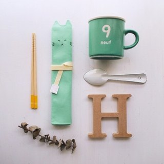 hairmo. Proud cat sets of portable chopsticks / cutlery bag / Pencil -T water green