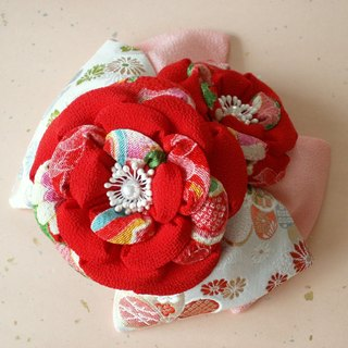 [Big ribbon and red camellia] knob crafted of hair ornaments seven hundred fifty-three