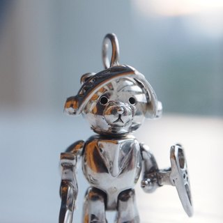 Shabon Lee silver designer toy jewellery figure - Bear Alliance - Holly Knight Bear with armor, sword, and shield. Exclusive 925 sterling silver action figure necklace pendant.