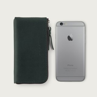 iPhone zipper phone case / wallet -- forest green
