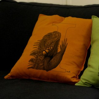 [I] guana Iguana: hand-painted letters pillow