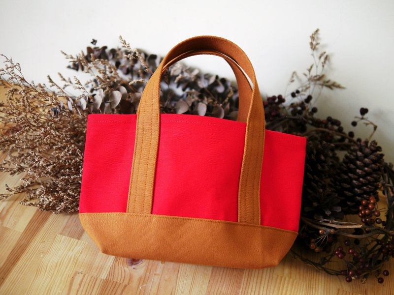 Classic Tote Bag Ssize red x caramel - Red x Caramel Brown -