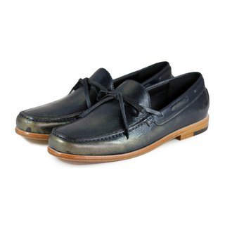 Toadflax M1122 Metalbrush Navy leather loafers